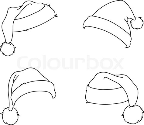 coloring pictures of santa hats outlined santa hats coloring page stock vector colourbox