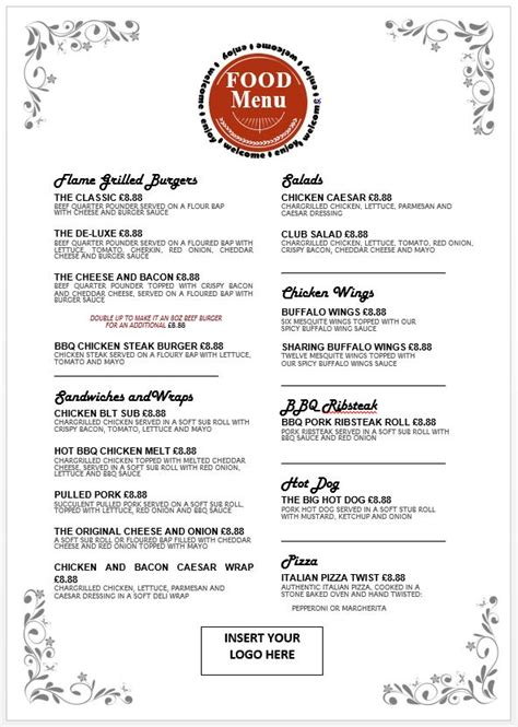 editable food menu templates big al s foodservice uk