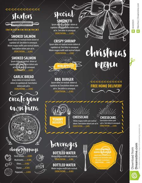 restaurant flyer design vector christmas party invitation restaurant food flyer stock