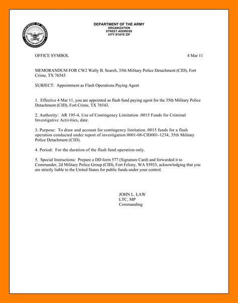 Memo General Format 9 Army Memorandum Exles Resumes Great