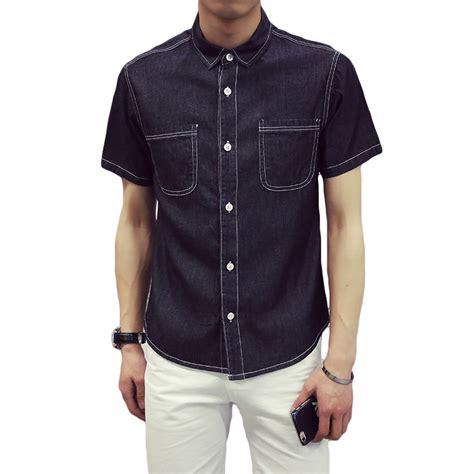 mens dress shirts sale aliexpress buy sale shirt sleeve black blue mens dress shirts two pockets