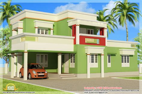 indian simple house plans designs simple 3 bedroom flat roof home design 1879 sq ft indian house plans