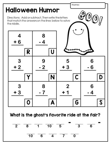 printable halloween math worksheets for 4th grade halloween math activities for first grade festival