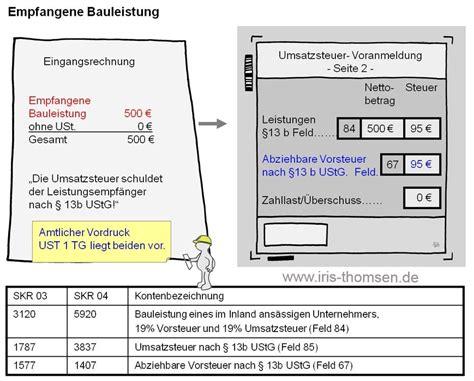 Musterrechnung Bauleistungen 13b Iris Thomsen Inland Leistung 167 13b Ustg