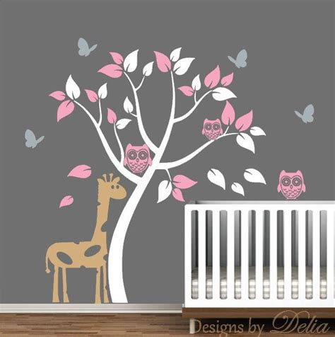 Butterfly Wall Decals For Nursery Nursery Removable Wall Decals With Tree Owls Butterflies And Giraffe Trees Removable Wall