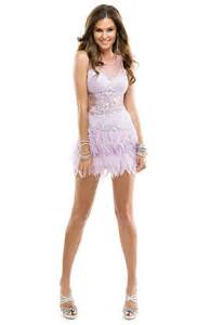 Sassy feather micro mini short dress with an illusion bodice by