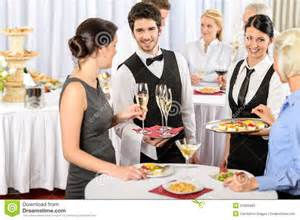 Glass Buffet Table Catering Service At Company Event Offer Food Stock Photos