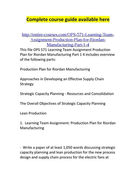 new process design for riordan manufacturing ops 571 learning team assignment production plan for