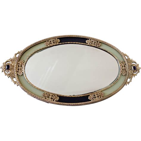 vintage ormolu mirror vanity tray japan from