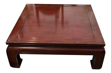 ming style coffee table ethan allen ming style cherry veneer coffee table chairish