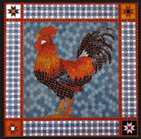 mosaic rooster pattern mosaic rooster mosaic broken china work pinterest