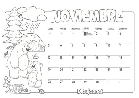 Calendario Noviembre 2018 2018 Para Colorear Pertamini Co