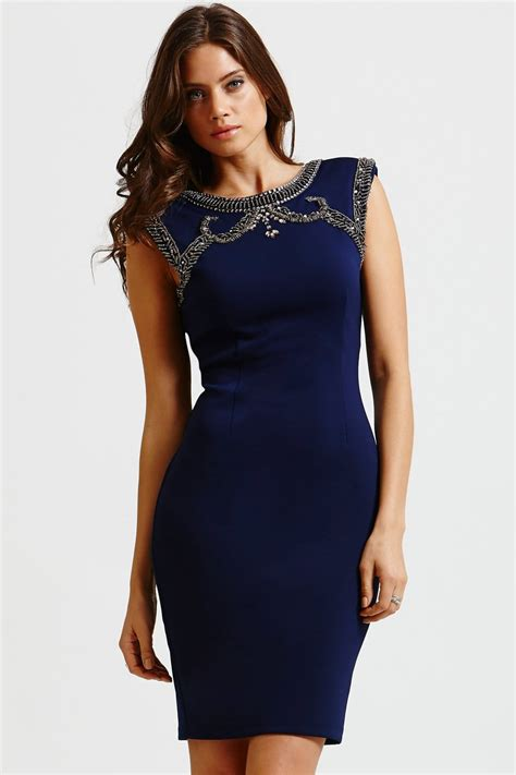Bodycon Top by Navy Embellished Top Bodycon Dress