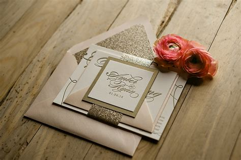 diy pink and gold wedding invitations real wedding and pink gold glitter weddi on