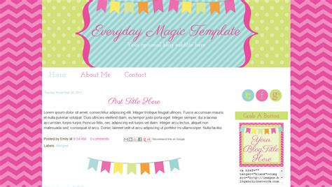 blog templates for teachers bright bunting pink cute