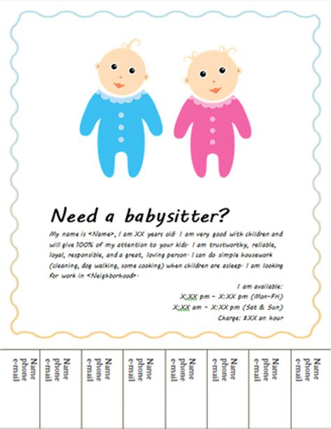 Free Babysitting Flyers Templates And Ideas Baby Sitting Flyer Template