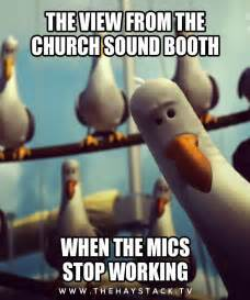 The view from the church sound booth when the mics stop working