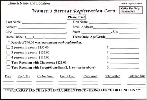 retreat registration form template downloadable forms retreat in a bag