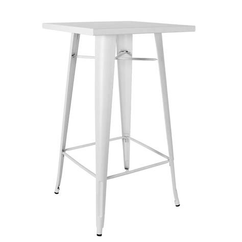 White Bar Table Caf 233 Chairs Sydney 600mm Square Replica Tolix Bar Table In Matte White