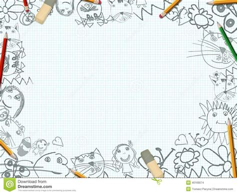 S Drawing In School by Children S Pencil Drawings Desk Background Stock