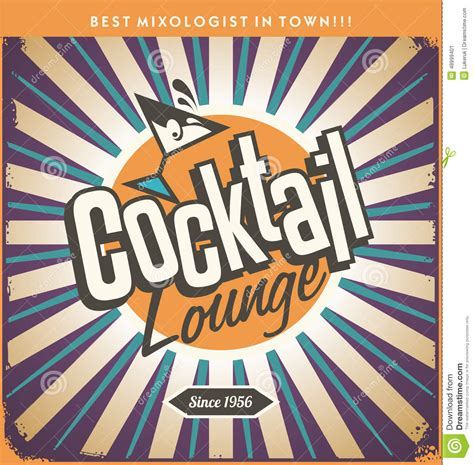 vintage cocktail party clipart retro tin sign design for cocktail lounge stock vector