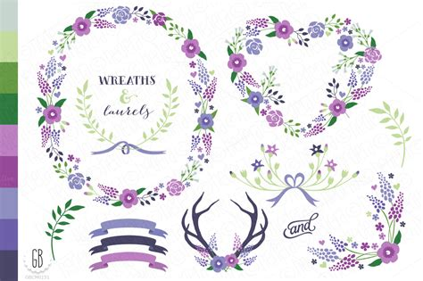 Set Floral 116 Busui Quality floral wreaths paper cards col21 illustrations on