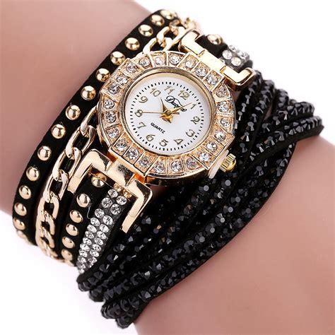 Jam Tangan Wanita Paket Free Gelang 1 jam tangan wanita model gelang rhinestone dy001 black jakartanotebook