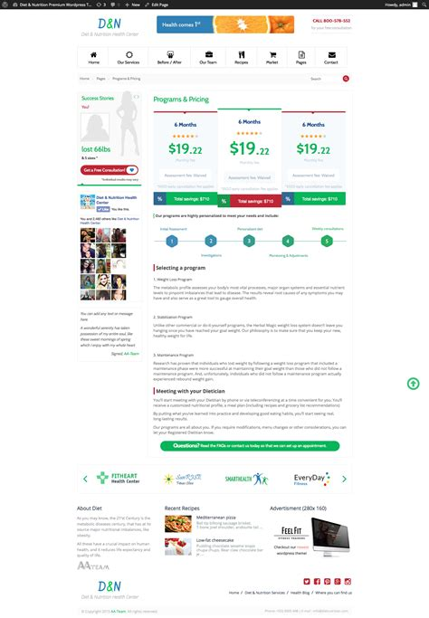 wordpress themes data center diet nutrition health center wordpress theme by aa