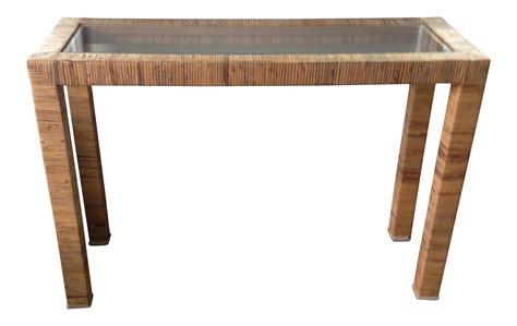 vintage rattan console table vintage rattan parsons console table chairish