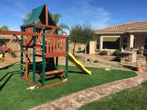 playground landscaping plastic grass los chaves new mexico backyard playground