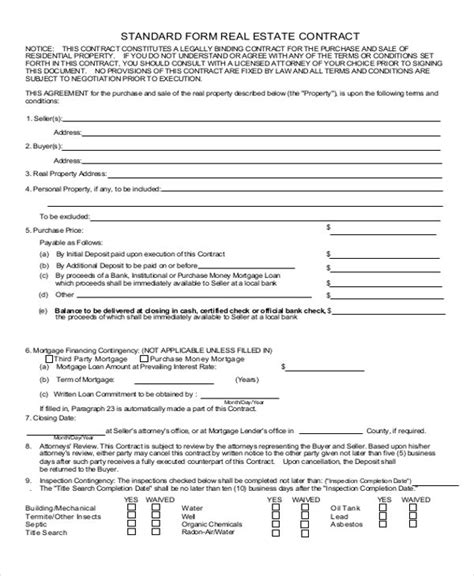 real estate sales contract template enom warb co