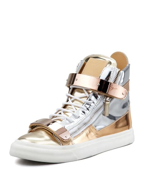 mens giuseppe sneakers giuseppe zanotti mens metallic colorblock high top sneaker