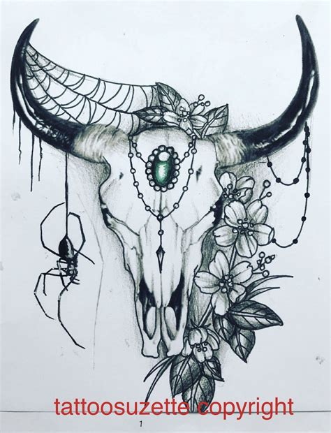 cow skull tattoo bull skull design ink bull skull