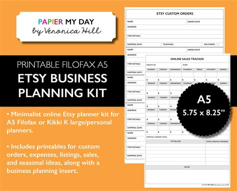 etsy business plan template a5 etsy planner kit printable etsy planning inserts for