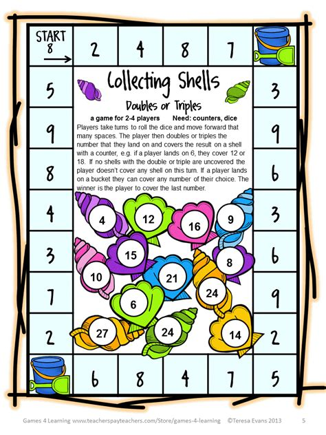 printable maths board games year 1 fun games 4 learning summer math games freebies and end