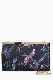 Oasis Embroidered Bird Clutch black clutch bags black casual occasion clutch bags