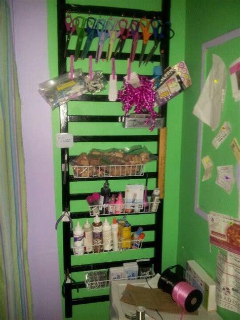 recycled crib railing turned craft organizer craft