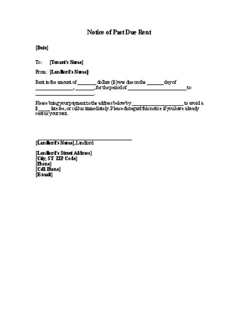 late rent past due rent notice template word templates
