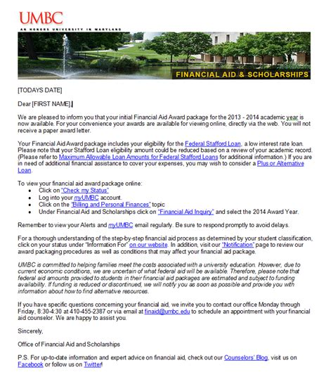 Financial Aid Notification Letter Umbc Financial Aid Scholarships