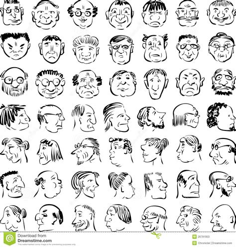 Cartoon Faces Stock Vector Illustration Of Profile Hand