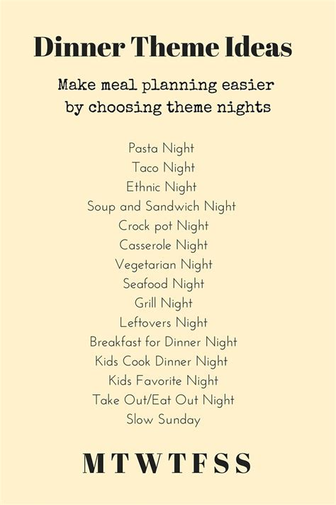 Ideas For Theme - 25 best ideas about weekly dinner menu on