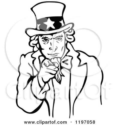 uncle sam wants you coloring page clipart of a black and white uncle sam pointing outwards