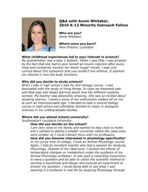 sle biography template for students lifescitrc org q a with whitaker 2010 aps k 12