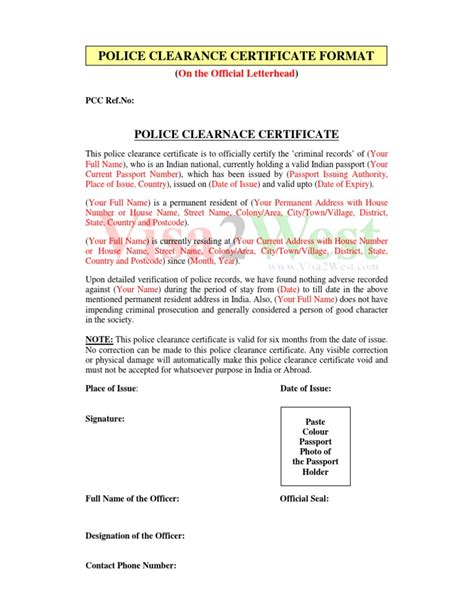 Indian Embassy Letterhead Pcc Format