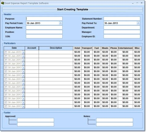 excel report template excel expense report template software 7 0 screenshot