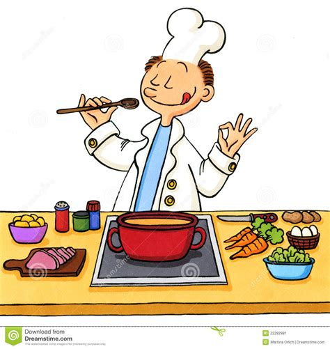 dessin animé de cuisine dessin anim 233 d un cuisinier dans la cuisine image stock