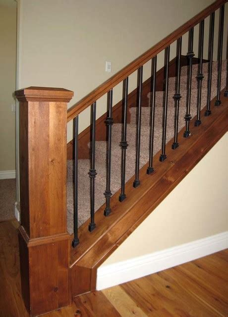 Wood Banisters For Stairs Wood Railing With Wrought Iron Balusters Traditional