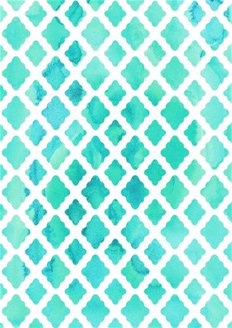 aqua patterns watercolor mint diamonds print