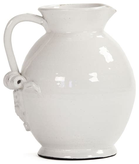 Large White Ceramic Vase by Tuscan White Ceramic Large Pitcher Traditional Vases