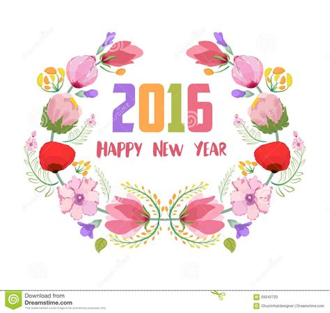 sentosa flower new year 2016 happy new year 2016 watercolor flowers frame stock
